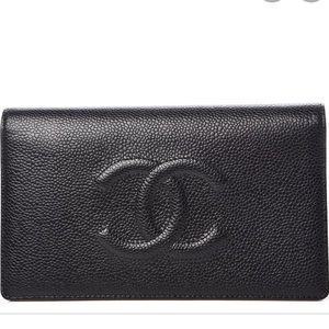 Chanel Black Caviar Timeless Yen Wallet